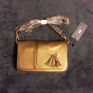 Naked Zebra Bronze Metallic Tassel Handbag Purse